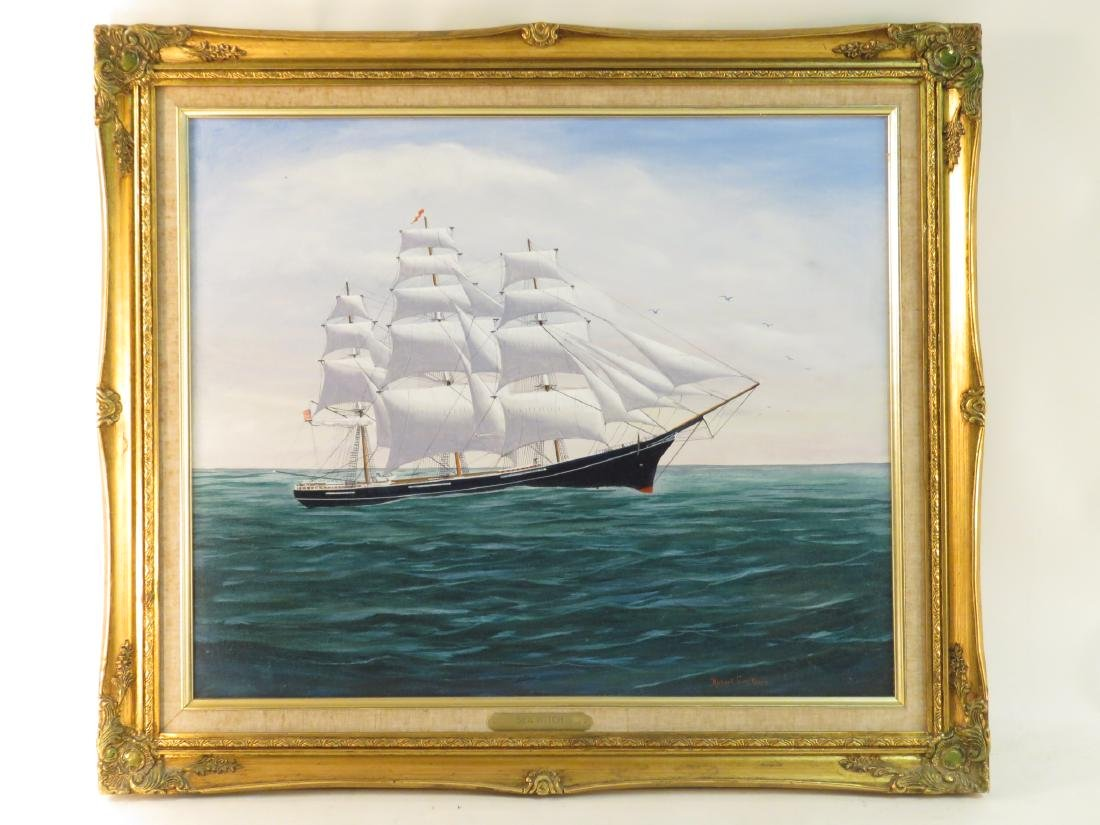 ROBERT LEE PERRY OIL ON CANVAS PAINTING OF A SHIP