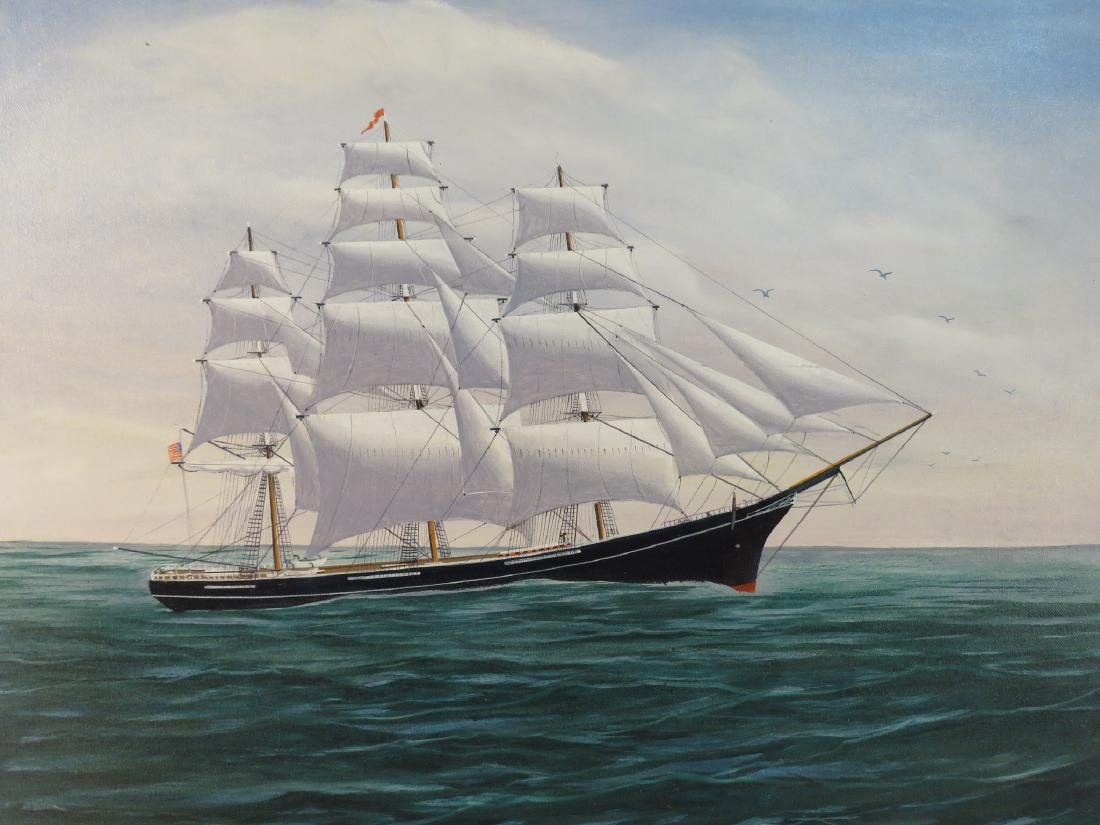 ROBERT LEE PERRY OIL ON CANVAS PAINTING OF A SHIP - 2