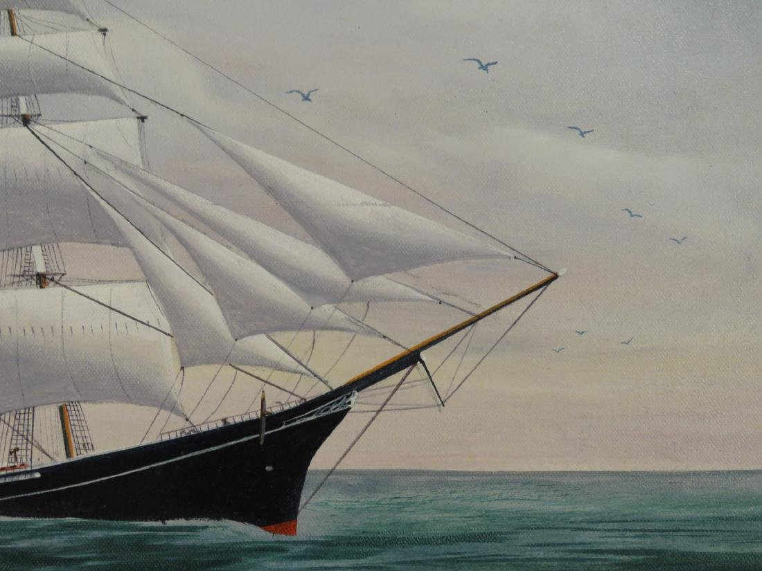 ROBERT LEE PERRY OIL ON CANVAS PAINTING OF A SHIP - 3