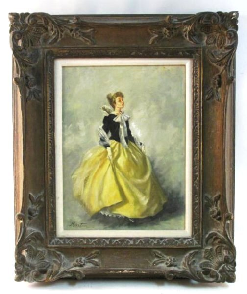 VINTAGE OIL ON CANVAS PAINTING LADY IN YELLOW DRES