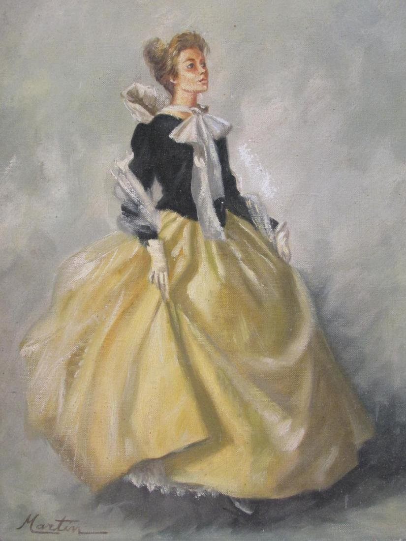 VINTAGE OIL ON CANVAS PAINTING LADY IN YELLOW DRES - 2
