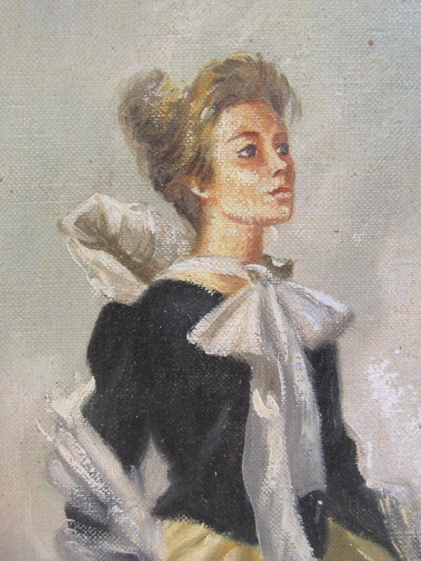 VINTAGE OIL ON CANVAS PAINTING LADY IN YELLOW DRES - 3