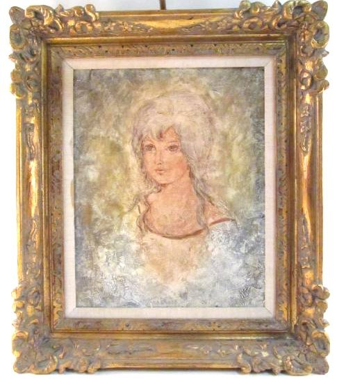 VINTAGE MIXED MEDIA PORTRAIT PAINTING SIGNED MILAN