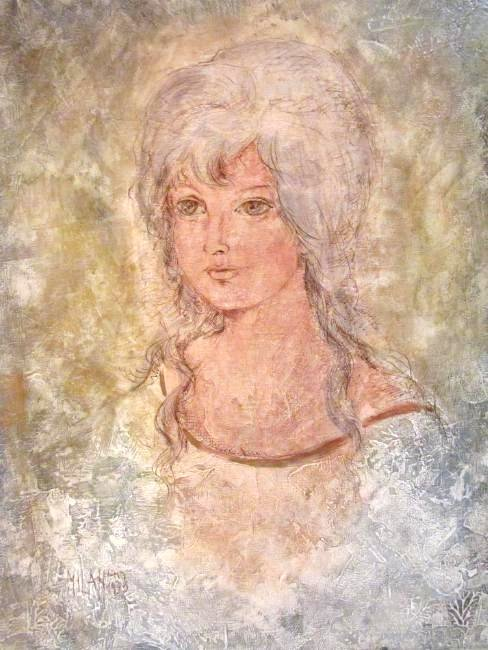 VINTAGE MIXED MEDIA PORTRAIT PAINTING SIGNED MILAN - 2