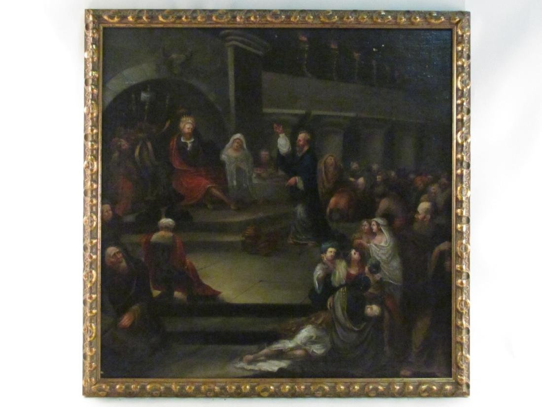 ANTIQUE BAROQUE STYLE OIL ON MASONITE PAINTING