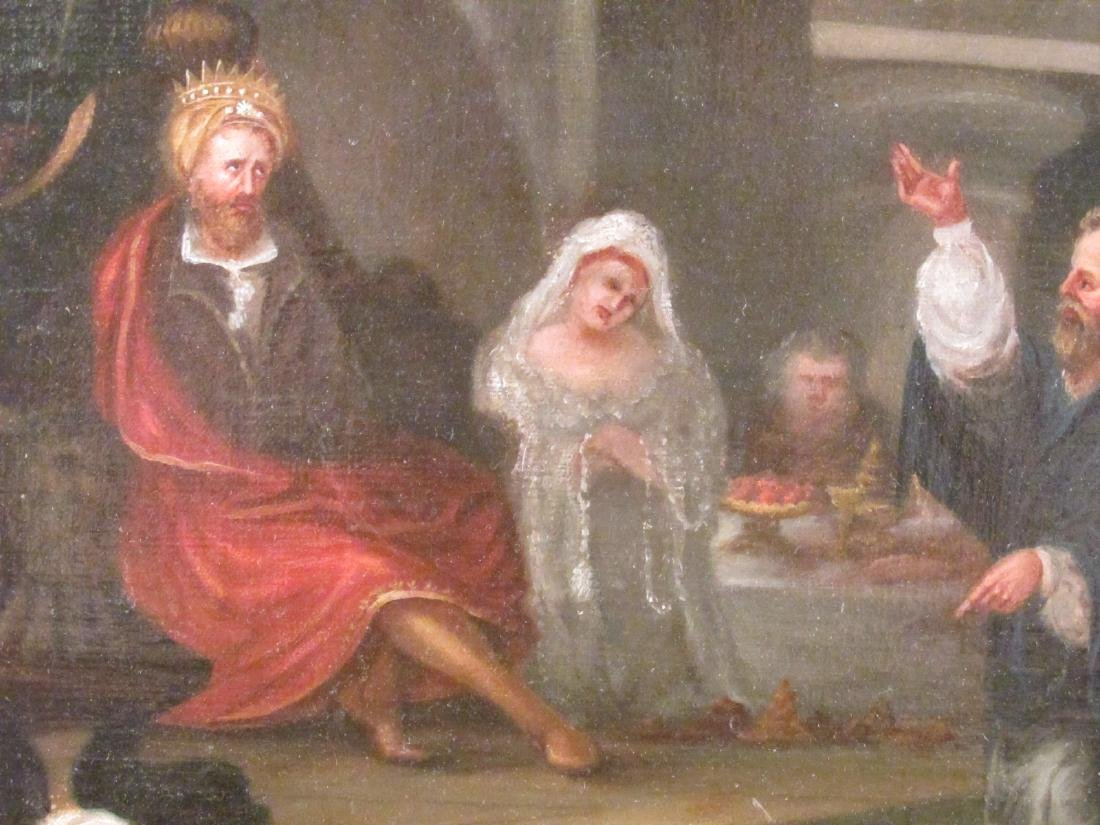 ANTIQUE BAROQUE STYLE OIL ON MASONITE PAINTING - 4