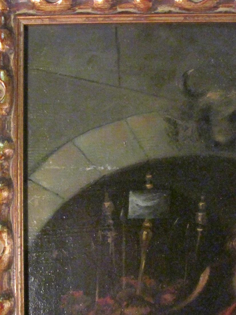 ANTIQUE BAROQUE STYLE OIL ON MASONITE PAINTING - 6