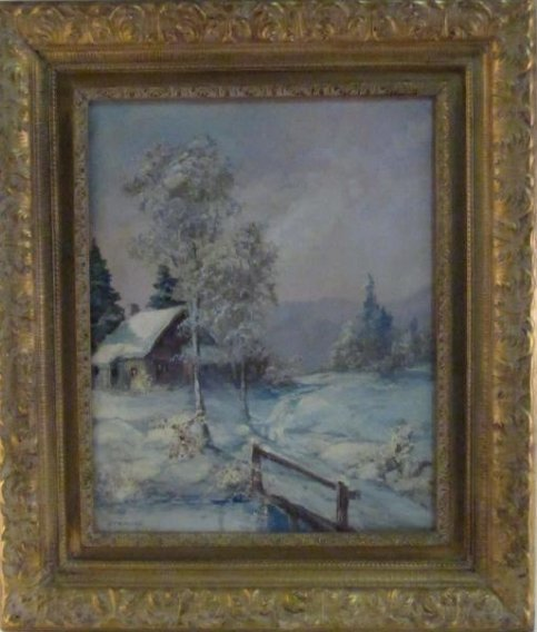 VINTAGE OIL ON CANVAS PAINTING SIGNED STRAUSS