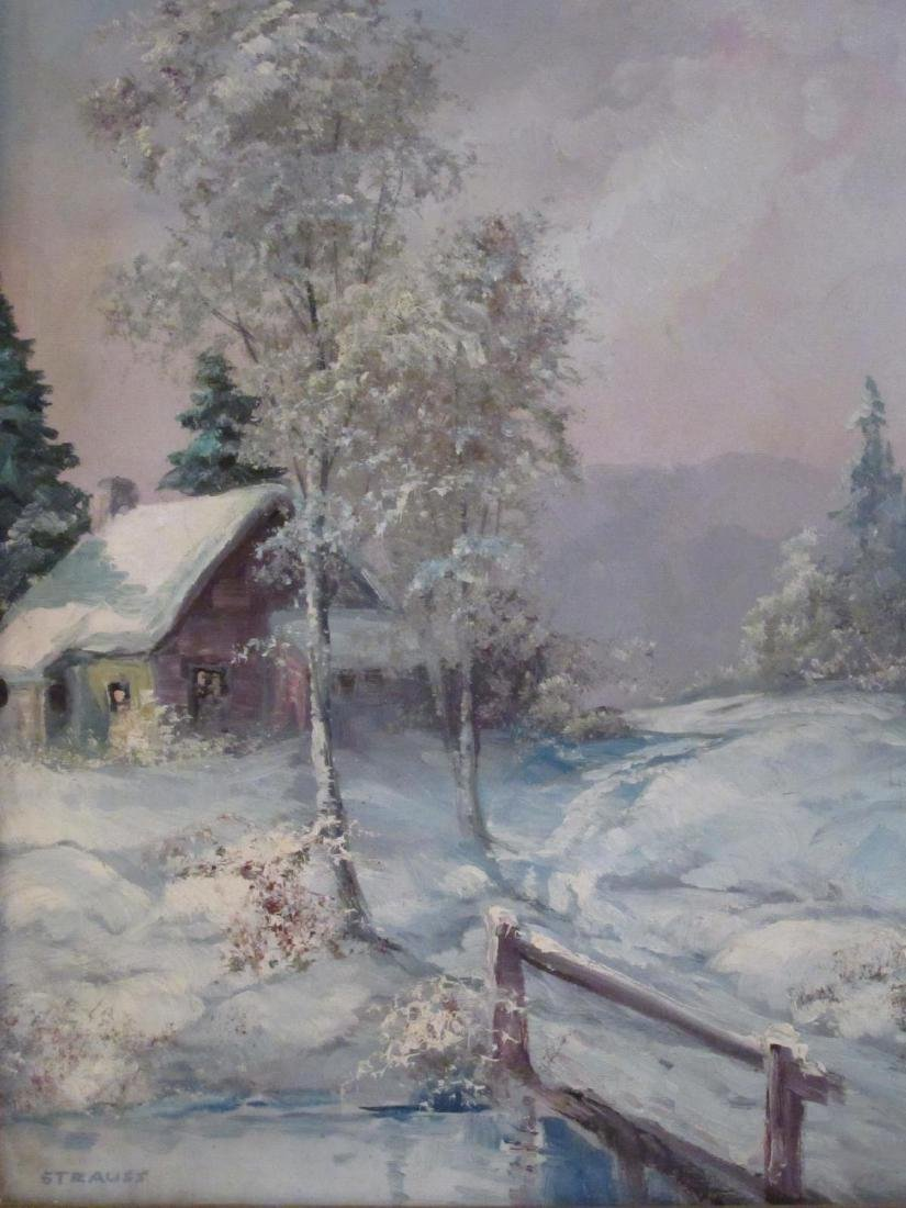 VINTAGE OIL ON CANVAS PAINTING SIGNED STRAUSS - 2