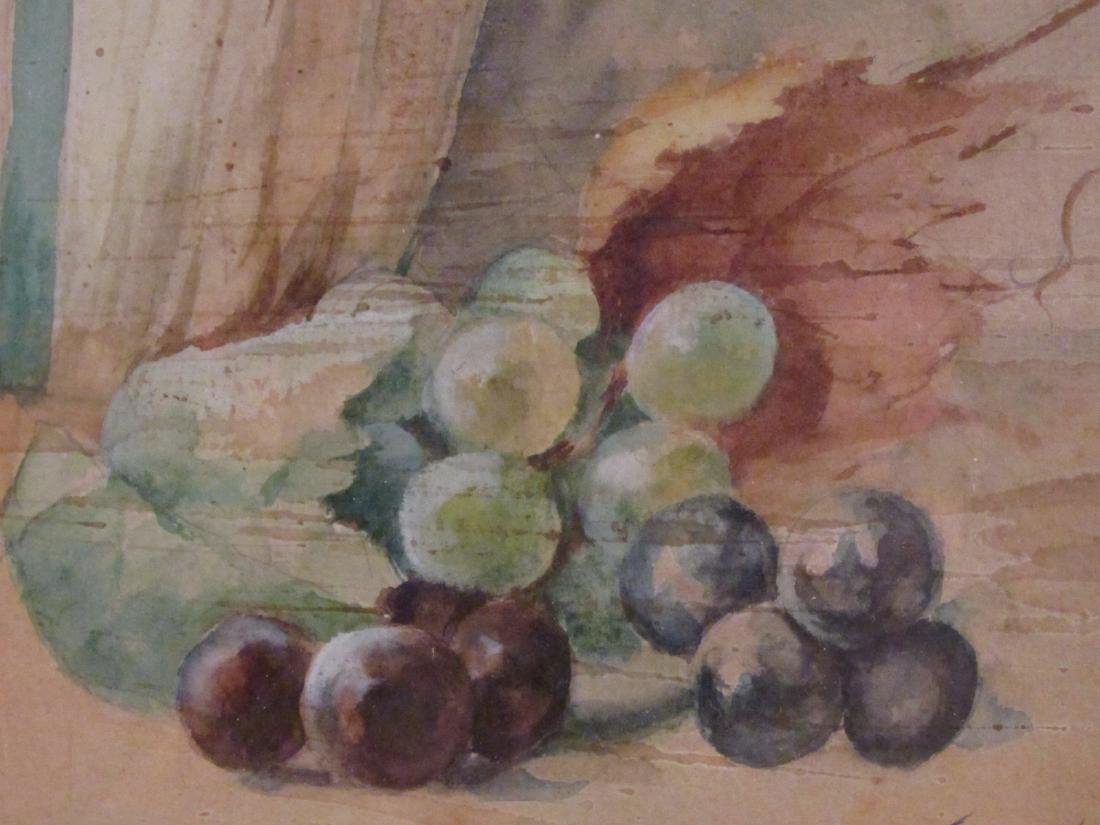 ANTIQUE WATERCOLOR STILL LIFE PAINTING - 5