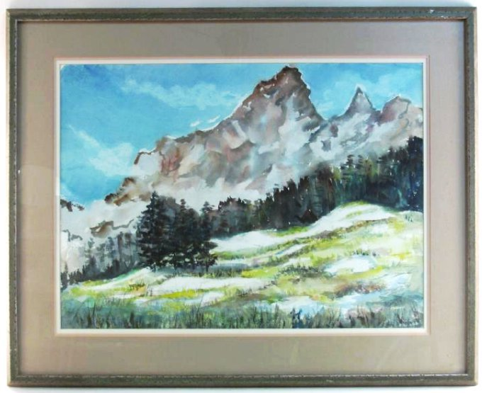 MARY PASSAILAIGUE WATERCOLOR PAINTING: ALPINE MEAD