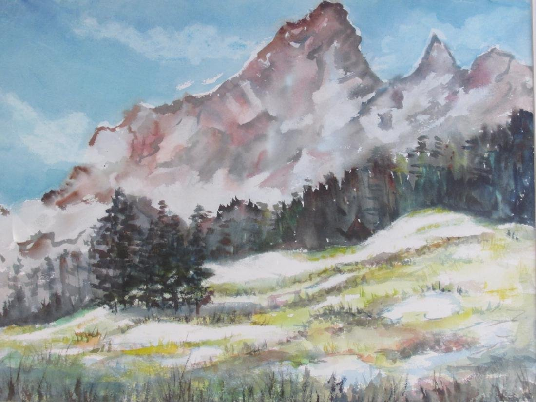 MARY PASSAILAIGUE WATERCOLOR PAINTING: ALPINE MEAD - 2