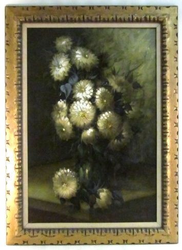 LARGE MID CENTURY OIL ON CANVAS FLORAL PAINTING