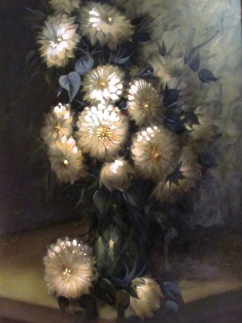 LARGE MID CENTURY OIL ON CANVAS FLORAL PAINTING - 2