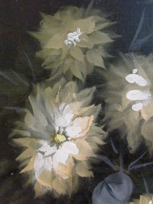 LARGE MID CENTURY OIL ON CANVAS FLORAL PAINTING - 3