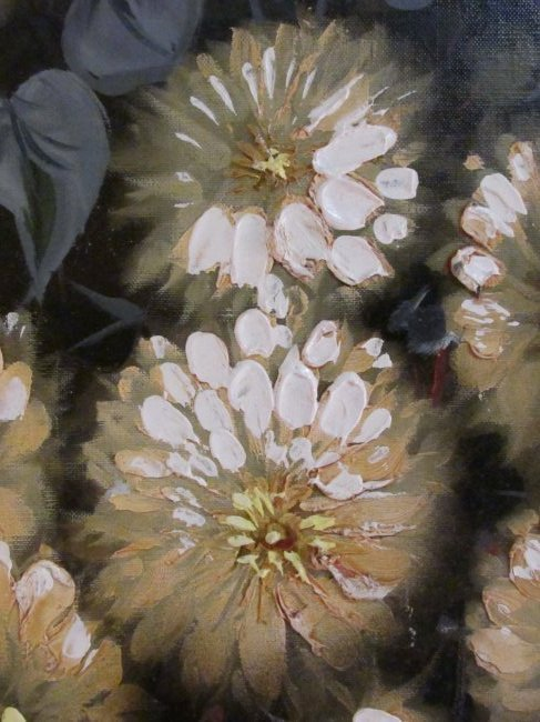 LARGE MID CENTURY OIL ON CANVAS FLORAL PAINTING - 4