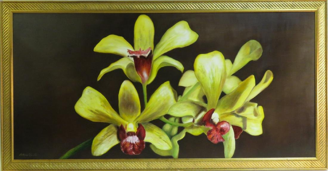 HUGE FLORAL OIL ON CANVAS PAINTING: ORCHIDS
