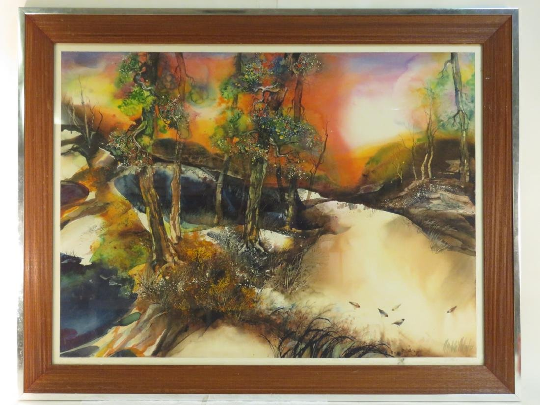 MEREDITH MILLER FRAMED WATERCOLOR PAINTING