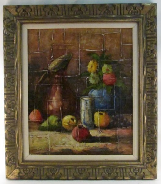 VINTAGE FRAMED ACRYLIC ON CANVAS PAINTING
