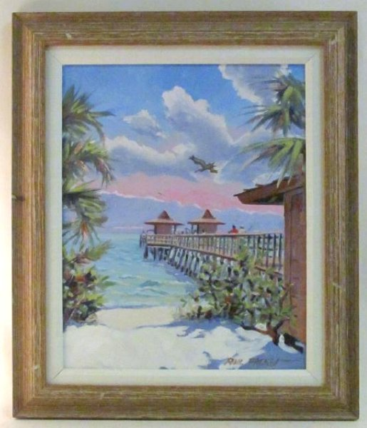 PHIL FISHER ACRYLIC ON CANVAS PAINTING NAPLES PIER