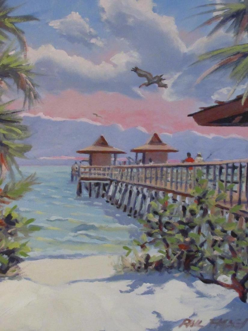 PHIL FISHER ACRYLIC ON CANVAS PAINTING NAPLES PIER - 2