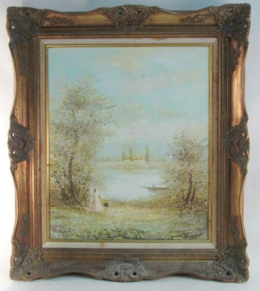 VINTAGE OIL ON CANVAS PAINTING BY J. MOREAU