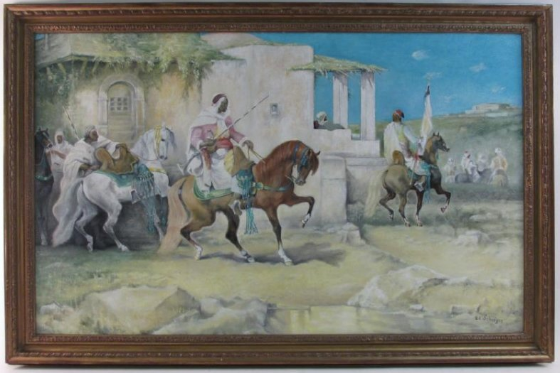 VINTAGE ACRYLIC ON BOARD AFTER ADOLF SCHREYER