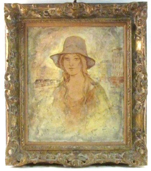 VINTAGE MIXED MEDIA PAINTING SIGNED MILAN