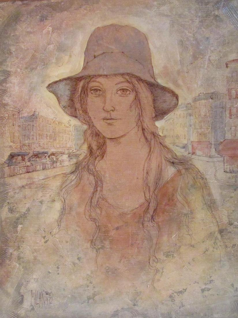 VINTAGE MIXED MEDIA PAINTING SIGNED MILAN - 2