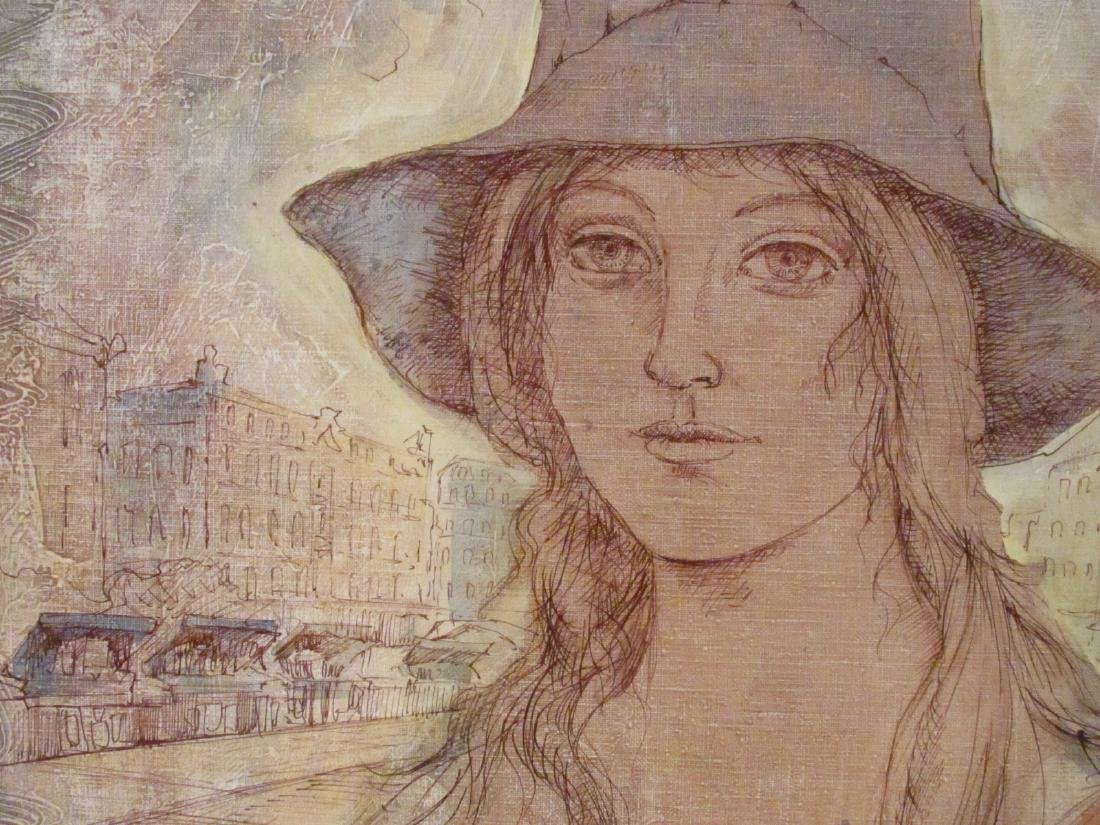 VINTAGE MIXED MEDIA PAINTING SIGNED MILAN - 3