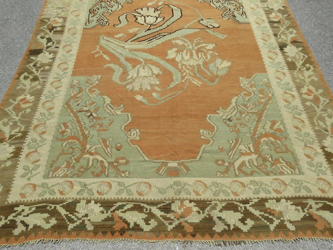 ANTIQUE TURKISH HAND KNOTTED WOOL KILIM AREA RUG - 2