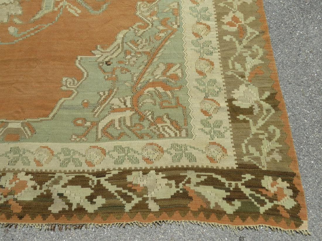 ANTIQUE TURKISH HAND KNOTTED WOOL KILIM AREA RUG - 3