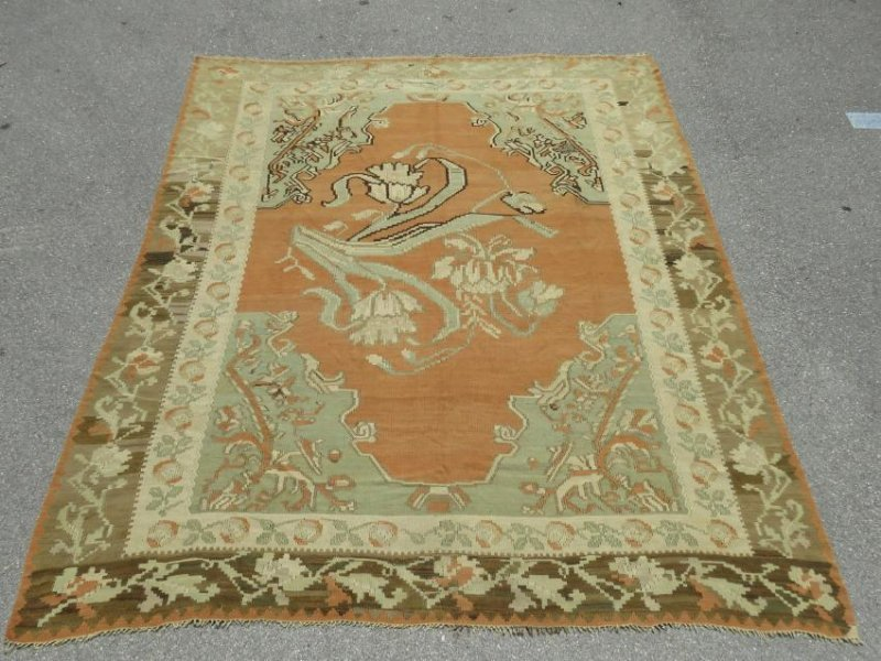 ANTIQUE TURKISH HAND KNOTTED WOOL KILIM AREA RUG - 7