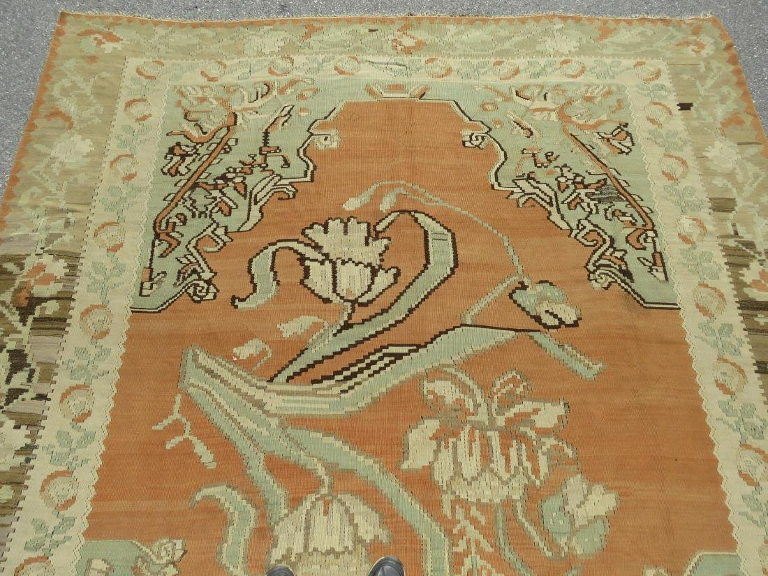 ANTIQUE TURKISH HAND KNOTTED WOOL KILIM AREA RUG - 8