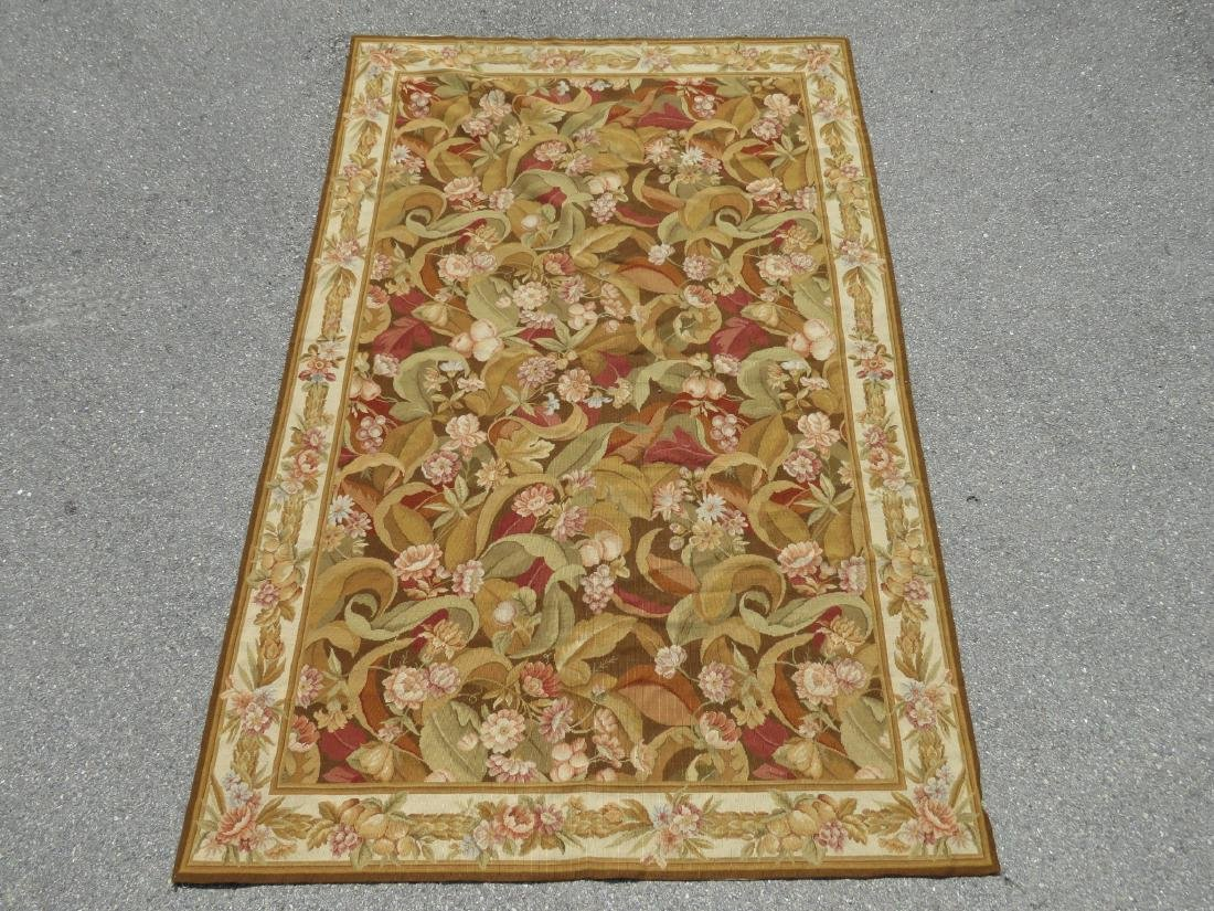 """NEEDLEPOINT FLORAL RUG - 7'9"""" x 9'9"""""""