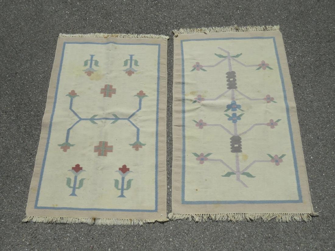 TWO WOOL HAND KNOTTED FLATWEAVE KILIM RUGS