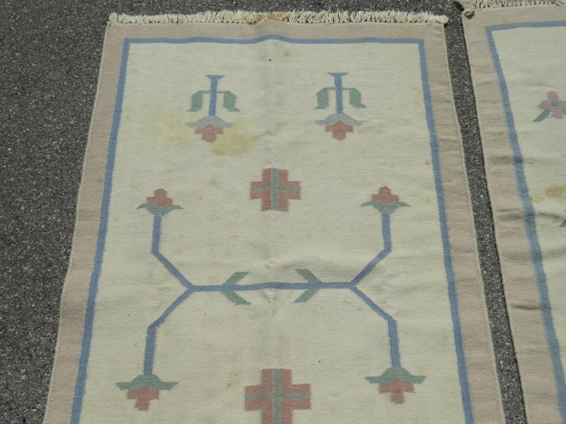 TWO WOOL HAND KNOTTED FLATWEAVE KILIM RUGS - 2