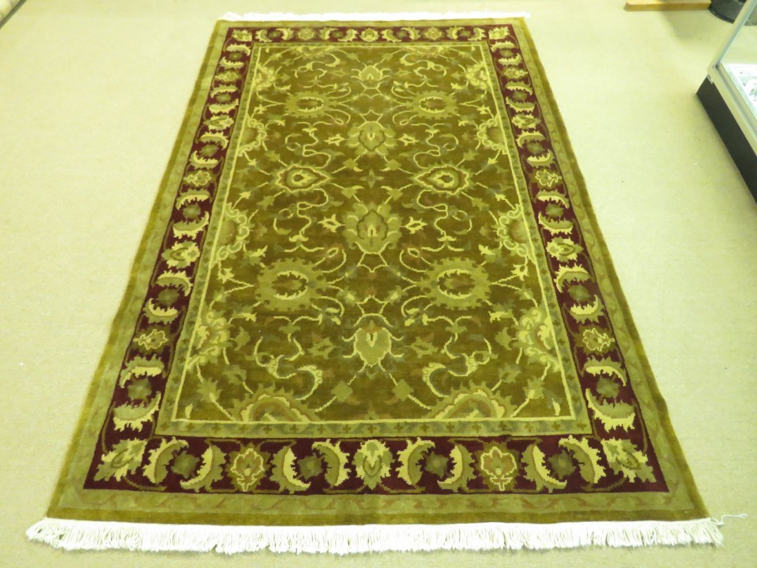 "HAND KNOTTED WOOL AREA RUG - 6'1"" x 8'11"""