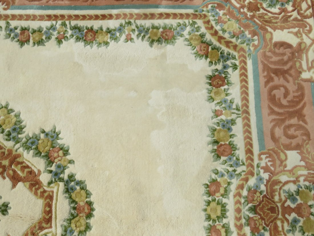 LARGE FLORAL HAND KNOTTED WOOL RUG - 6