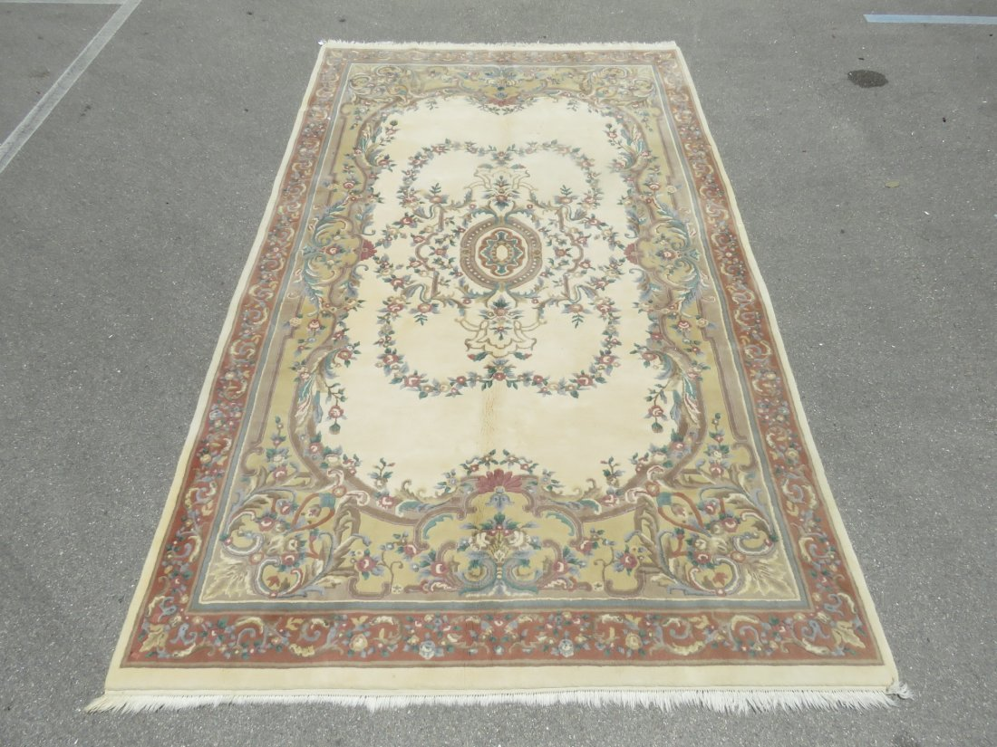 LARGE FLORAL HAND KNOTTED WOOL & COTTON RUG