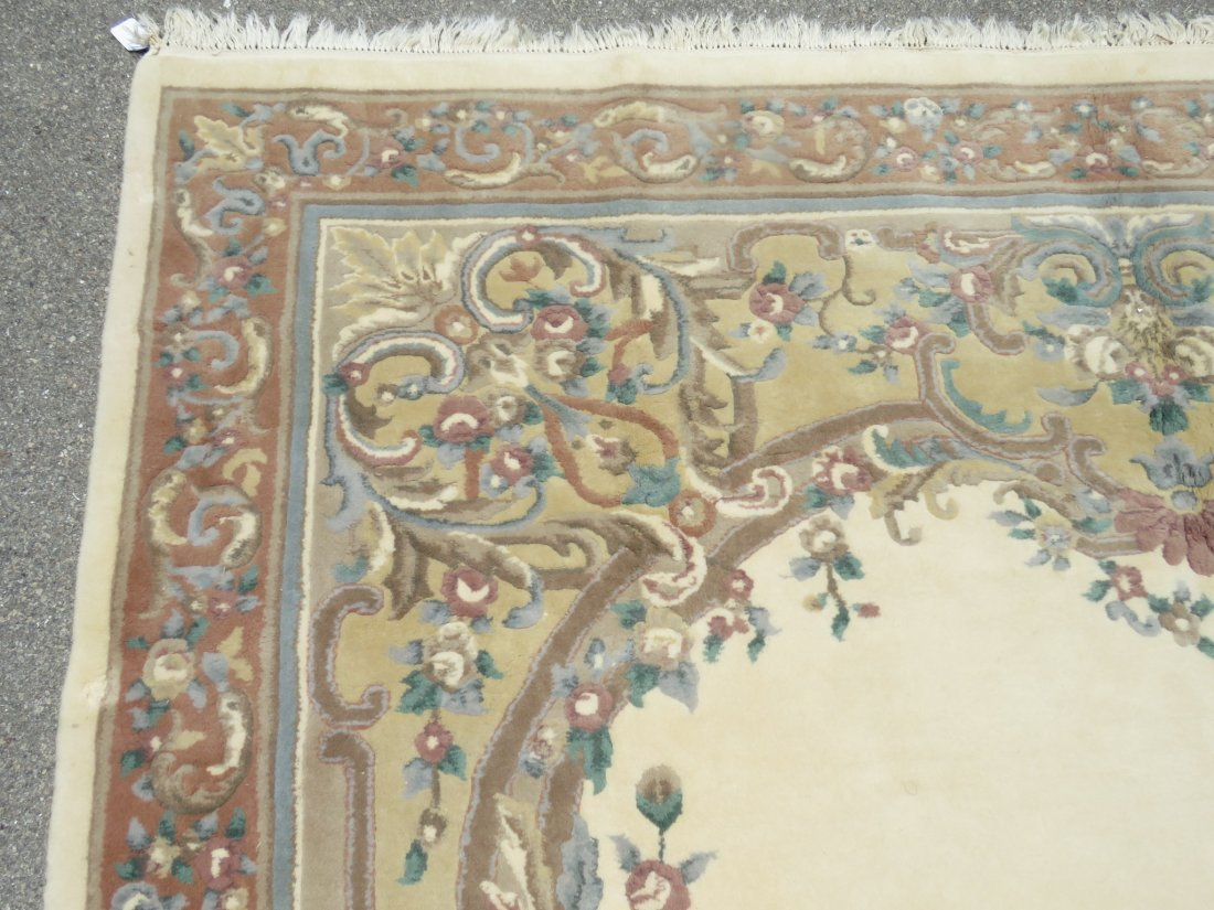 LARGE FLORAL HAND KNOTTED WOOL & COTTON RUG - 2