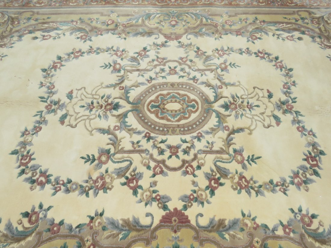 LARGE FLORAL HAND KNOTTED WOOL & COTTON RUG - 4