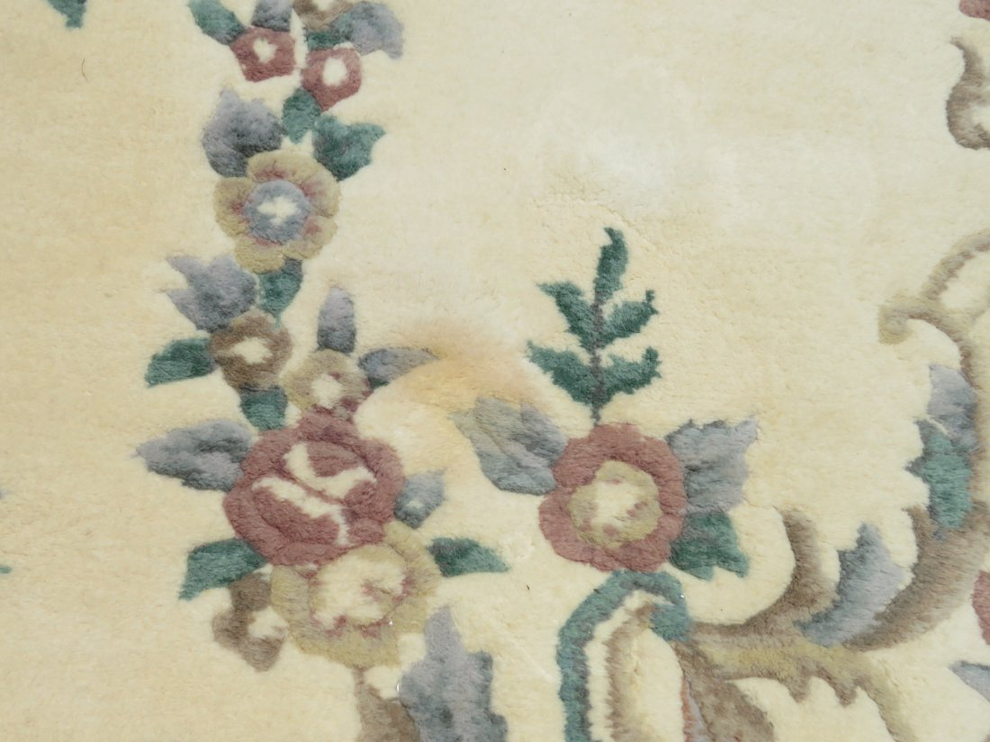 LARGE FLORAL HAND KNOTTED WOOL & COTTON RUG - 5