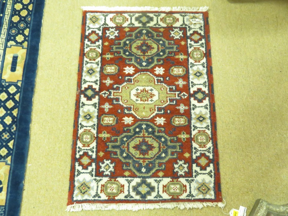 SMALL HAND KNOTTED WOOL RUG 2' X 3'