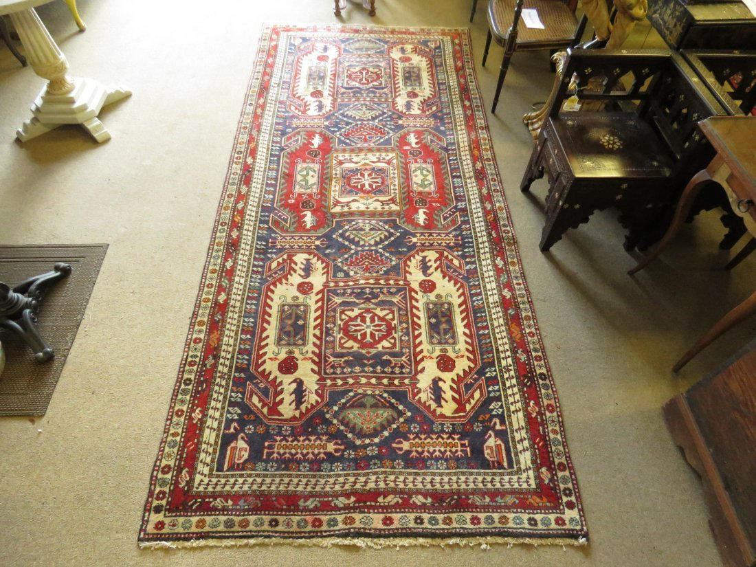 """CAUCASIAN STYLE HAND KNOTTED WOOL RUG - 4'4"""" X 10'"""