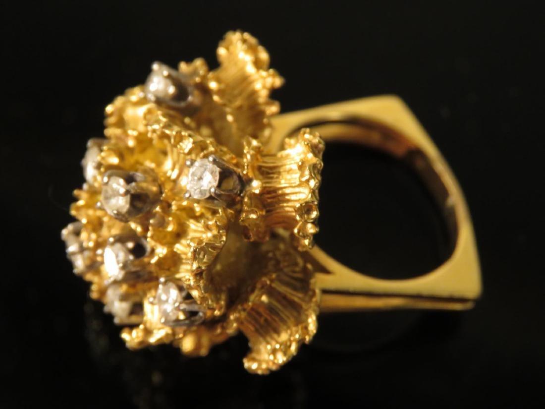LARGE LADIES 18K YELLOW GOLD & DIAMOND RING SZ 6.5