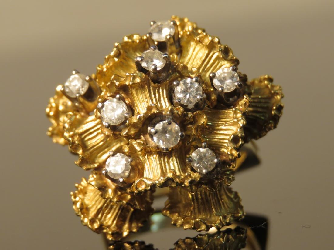LARGE LADIES 18K YELLOW GOLD & DIAMOND RING SZ 6.5 - 2
