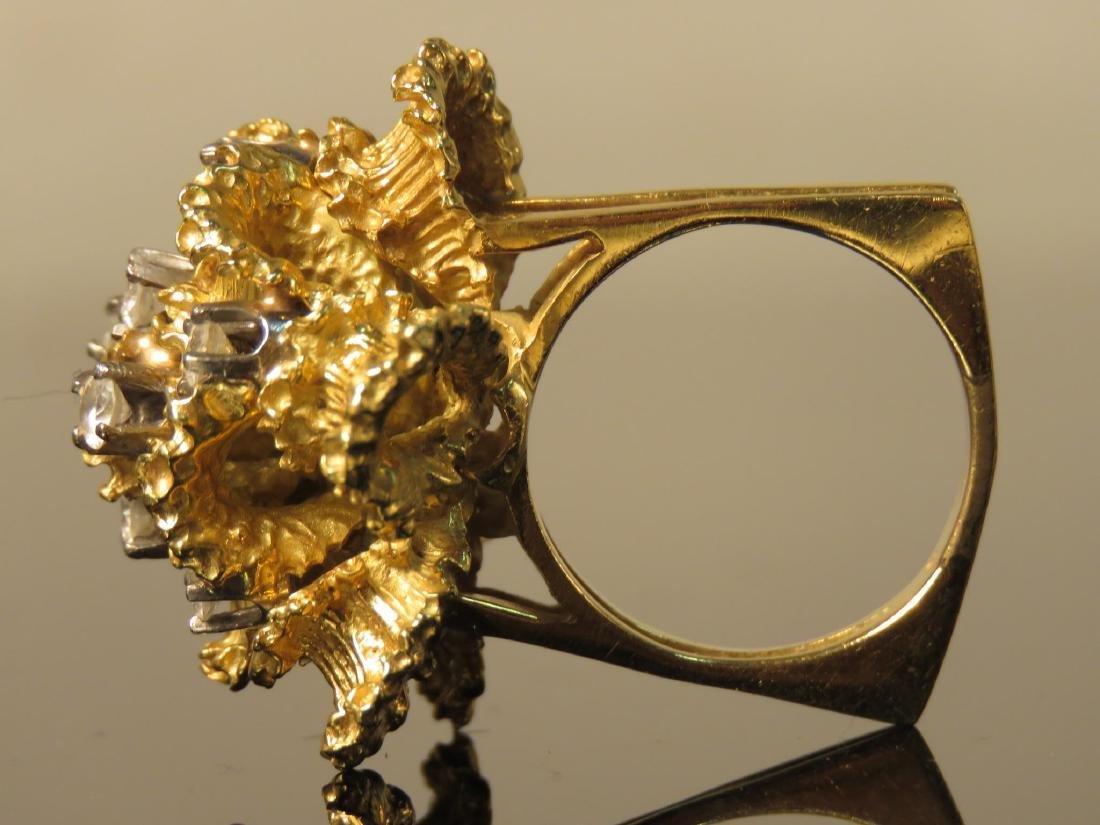 LARGE LADIES 18K YELLOW GOLD & DIAMOND RING SZ 6.5 - 3