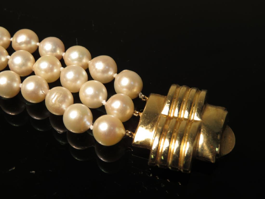 14K YELLOW GOLD & PEARL TRIPLE STRAND BRACELET - 2