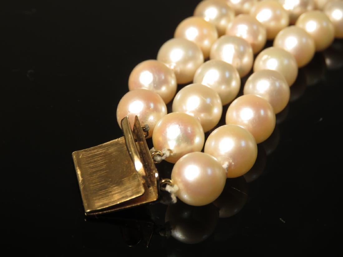 14K YELLOW GOLD & PEARL TRIPLE STRAND BRACELET - 3